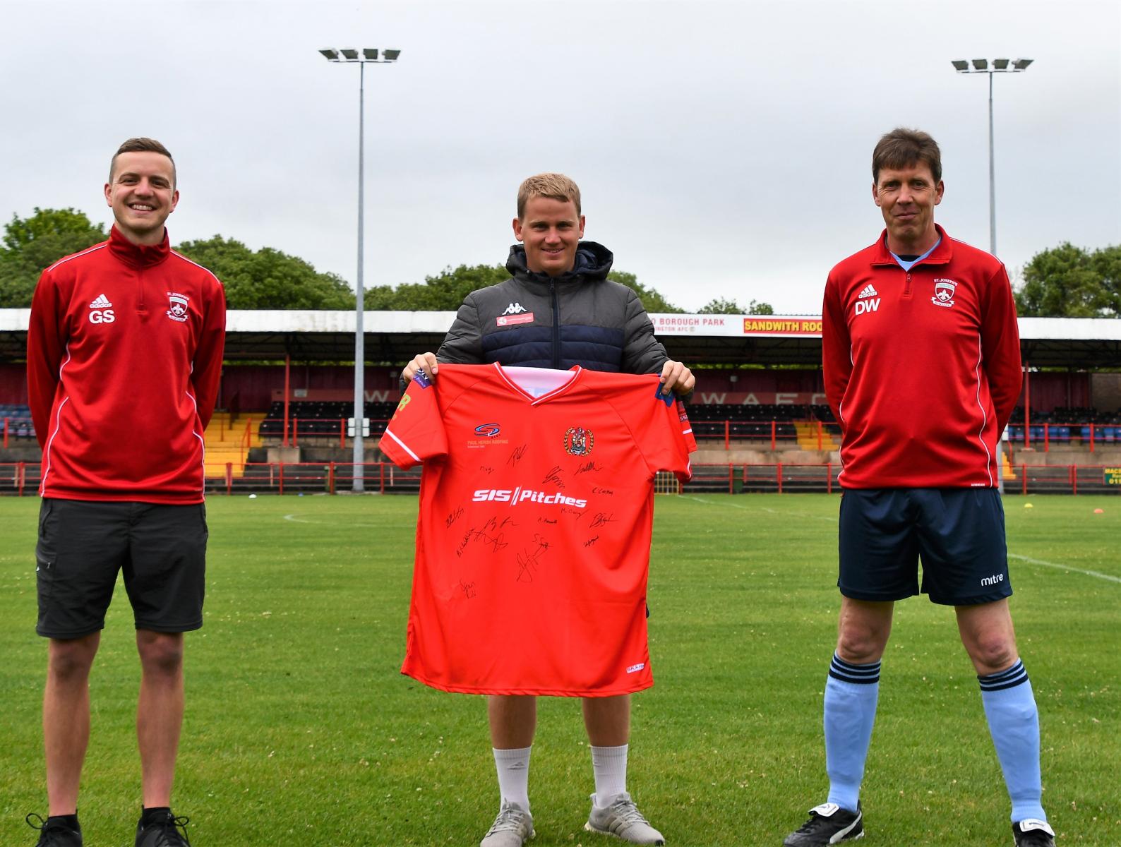 Shirt Presentation to St Josephs Blues Walking Football team