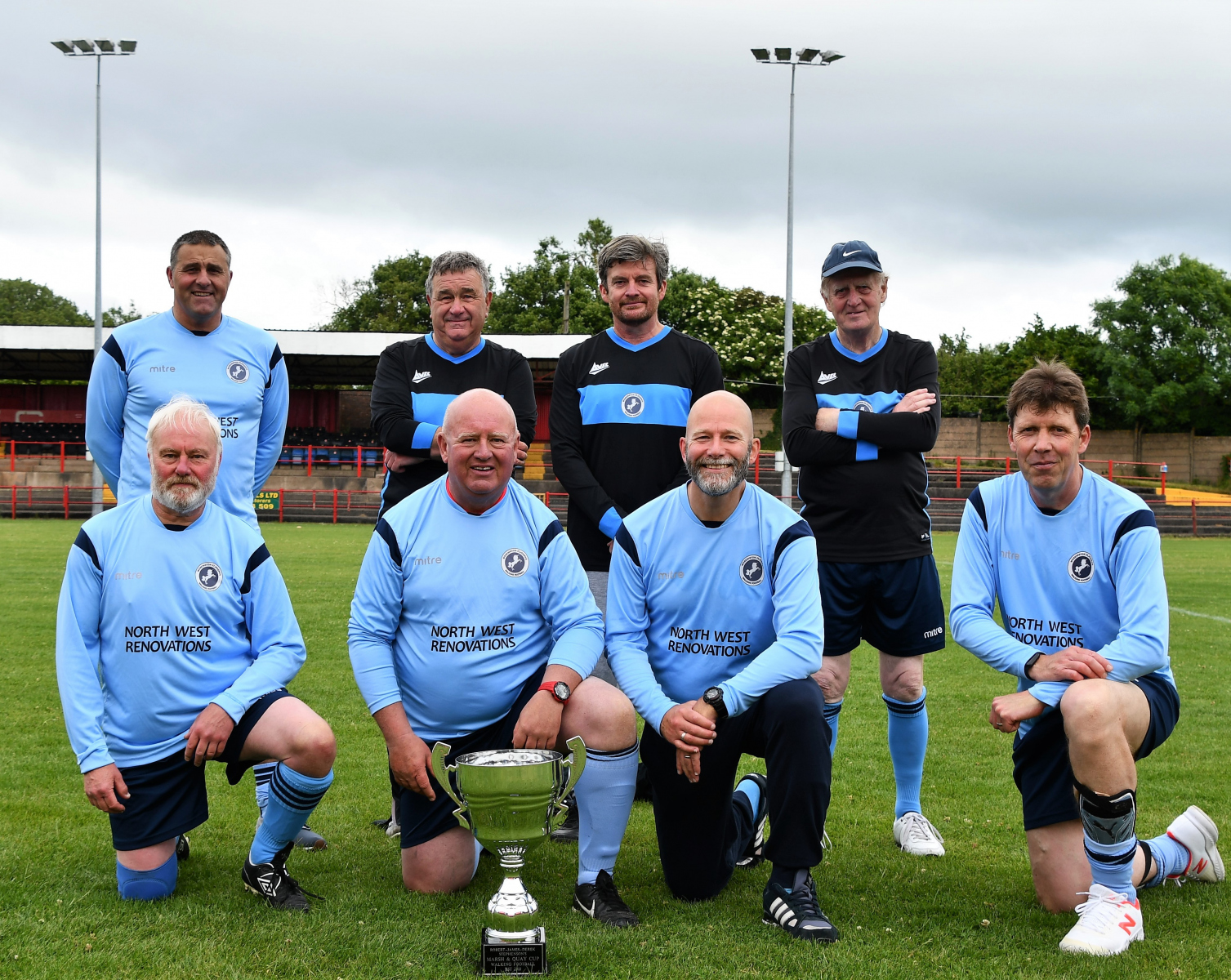 Workington St Joseph's Blues with the Cumberland Walking Football Cup 2021