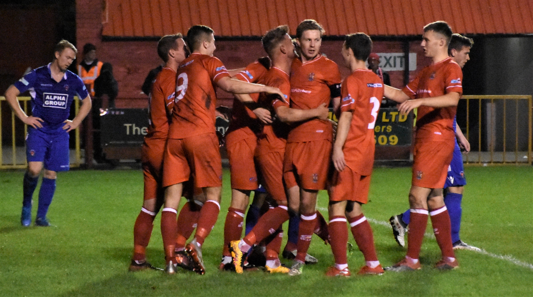 The Reds celebrate Dav Symington's first goal (Ben Challis)