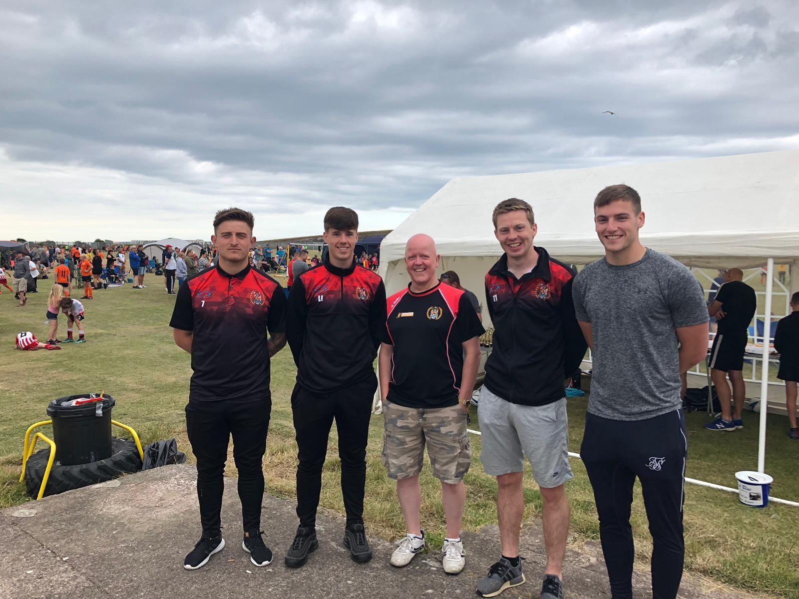Dav Symington,  Luke Ivison, Conor Tinnion and Ash Kelly with Workington Reds Juniors' Simon Collins.